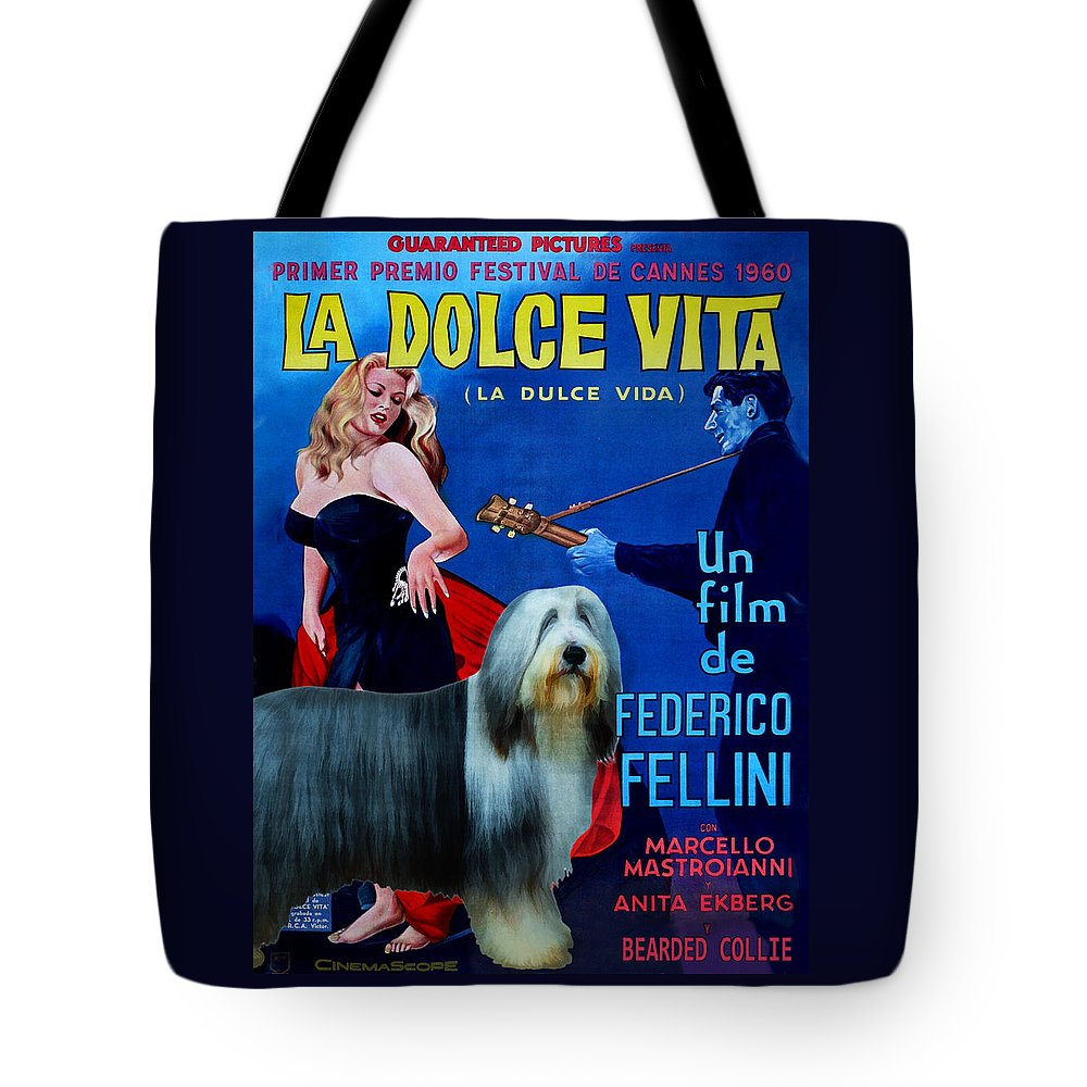 Bearded Collie Tote Bag featuring the painting Bearded Collie Art Canvas Print - La Dolce Vita Movie Poster by Sandra Sij