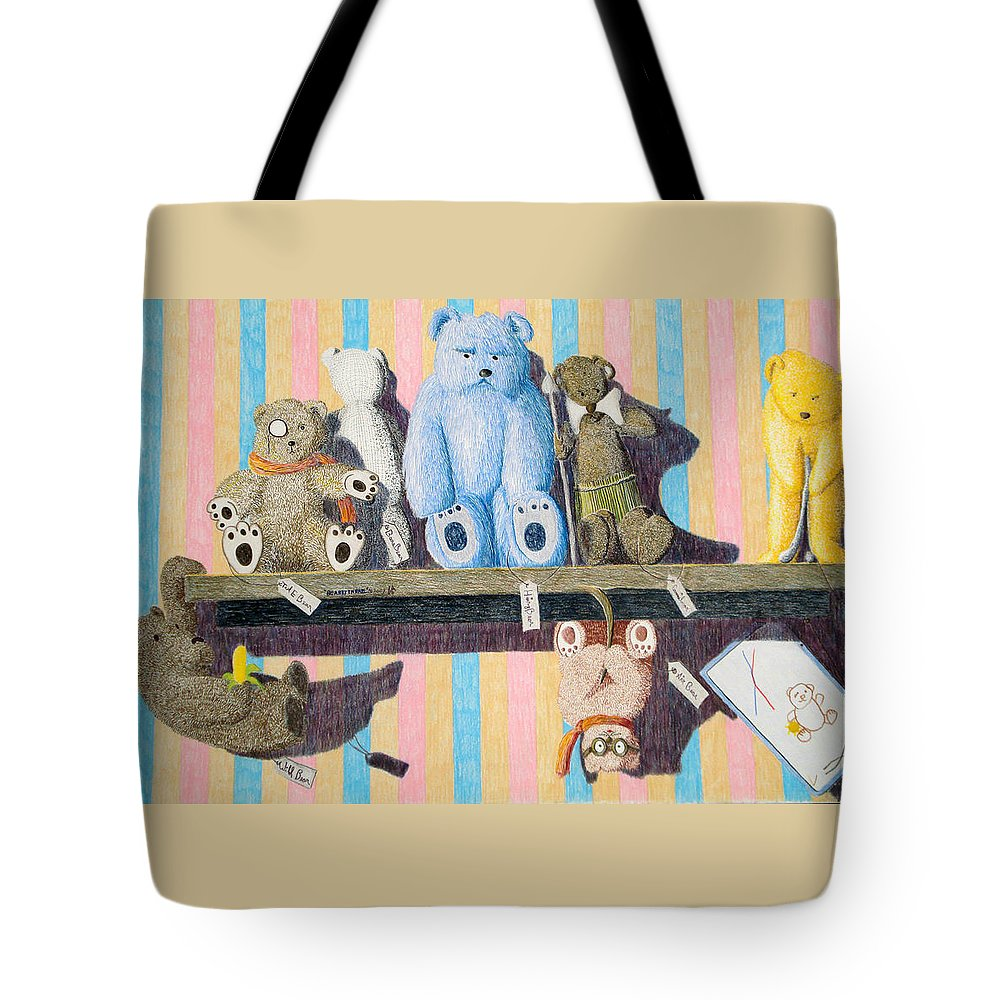 Still Life Tote Bag featuring the painting Bearly There by A Robert Malcom