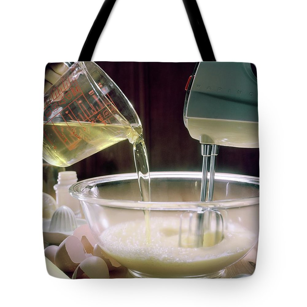 Still Life Tote Bag featuring the photograph Beating Eggs by Karen Radkai