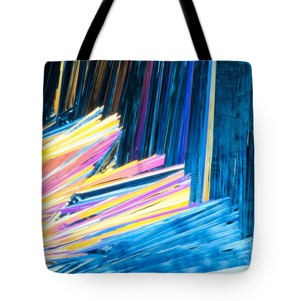 Acid Tote Bag featuring the photograph Beautiful Benzoic Acid Microcrystals Abstract Art by Stephan Pietzko