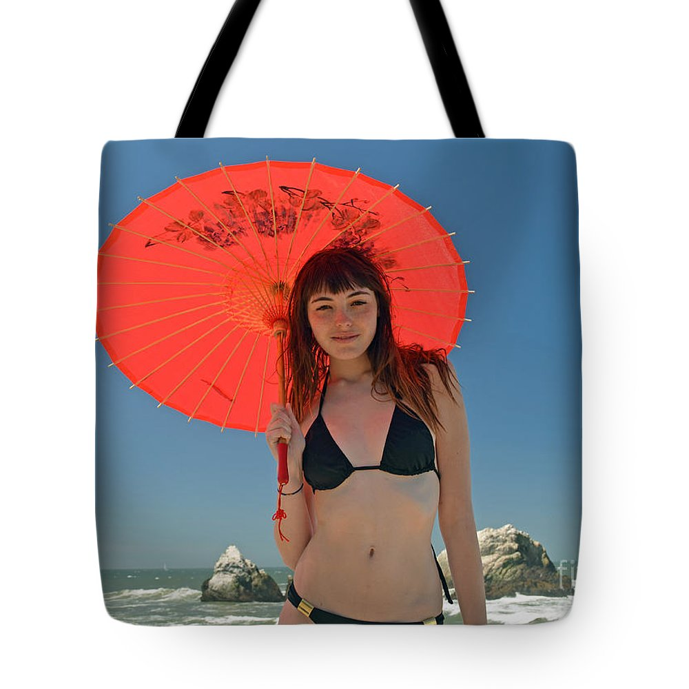 Brown Haired Tote Bag featuring the photograph Beautiful Model At Sutro Baths In San Francisco V by Jim Fitzpatrick