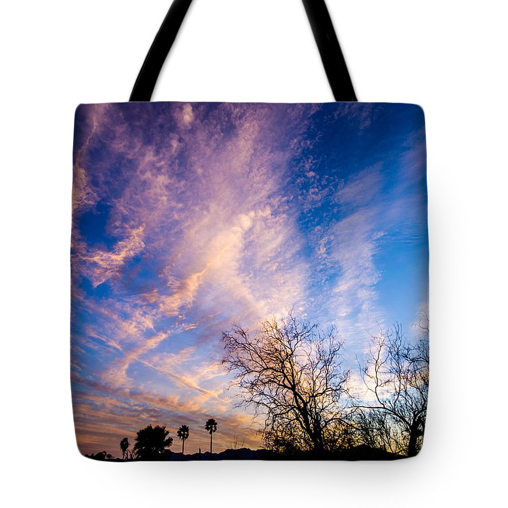 Tucson Tote Bag featuring the photograph Beautiful Morning Sunrise Clouds Across The Sky by Michael Moriarty