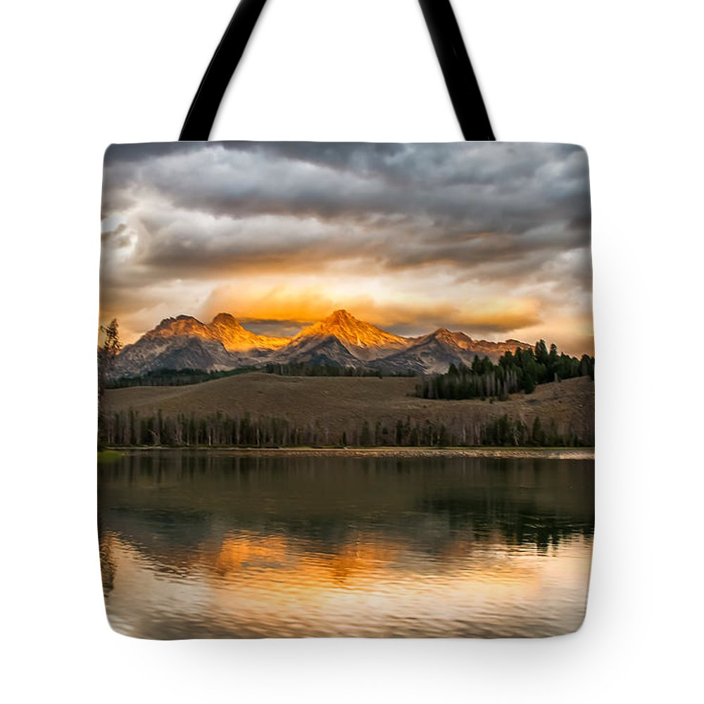 Rocky Mountains Tote Bag featuring the photograph Beautiful Sunrise On Little Redfish Lake by Robert Bales