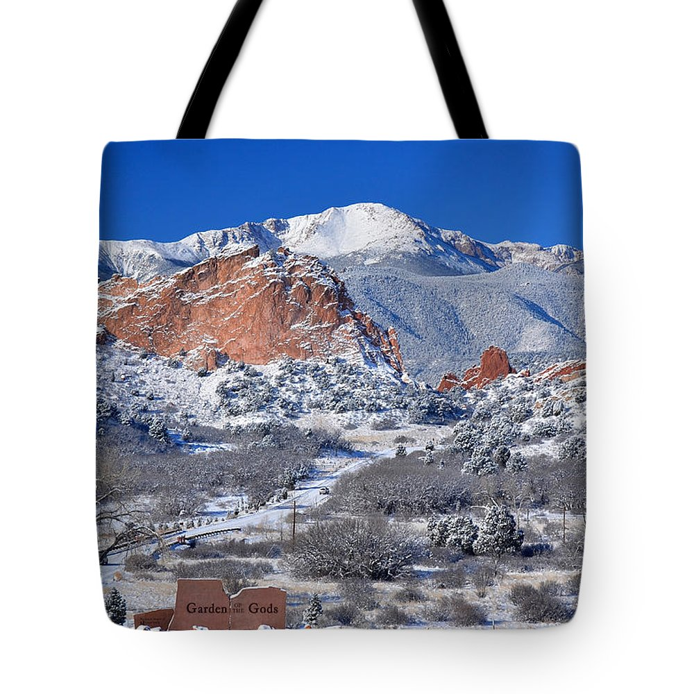 Colorado Tote Bag featuring the photograph Beautiful Winter Garden Of The Gods by John Hoffman