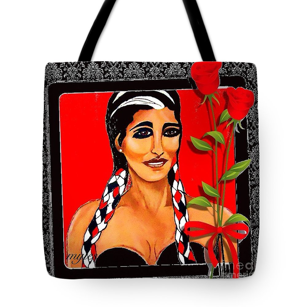 Beauty Tote Bag featuring the painting Beauty And Flowers 2 by Saundra Myles