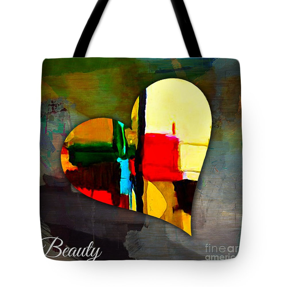Heart Mixed Media Tote Bag featuring the mixed media Beauty by Marvin Blaine