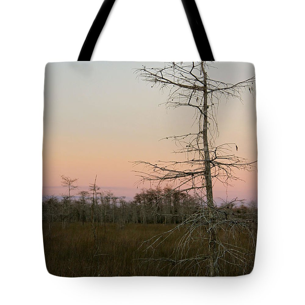 Nature Everglades Florida Landscape Tree White Sunset Color Pink Blue Lonely Tree Field Beautiful Superb Tote Bag featuring the photograph Beauty Of Lonesome by AR Annahita
