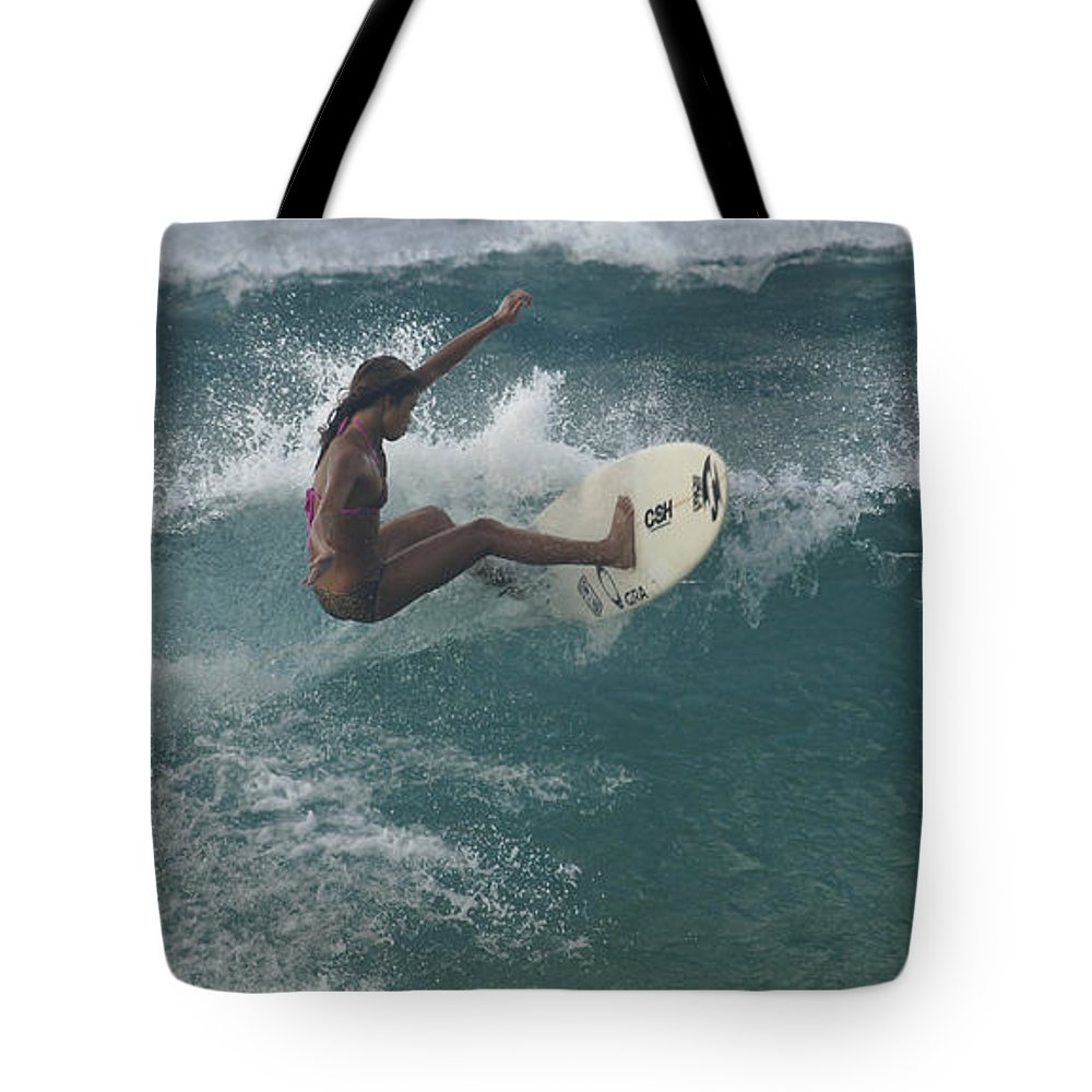 Extreme Sports Tote Bag featuring the photograph Beauty On A Surf Board by Bob Christopher