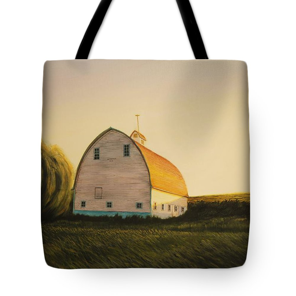 Landscape Tote Bag featuring the painting Becker Barn by Leonard Heid