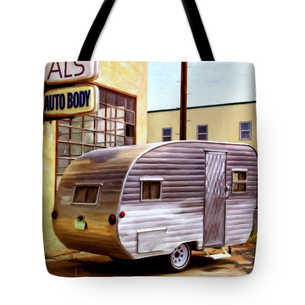 Vintage R.v. Canned Ham Travel Trailer Tote Bag featuring the painting Becky's Vintage Travel Trailer by Michael Pickett