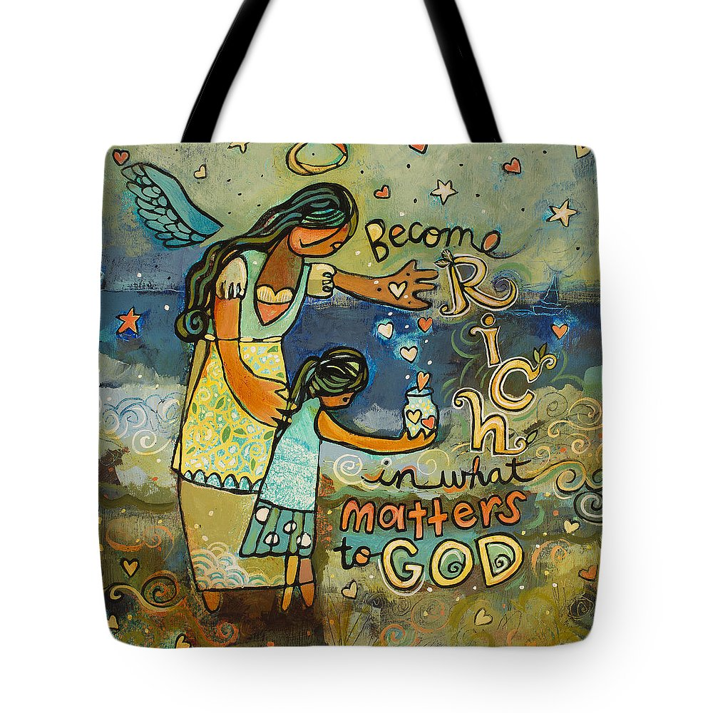 Jen Norton Tote Bag featuring the painting Become Rich in what Matters to God by Jen Norton
