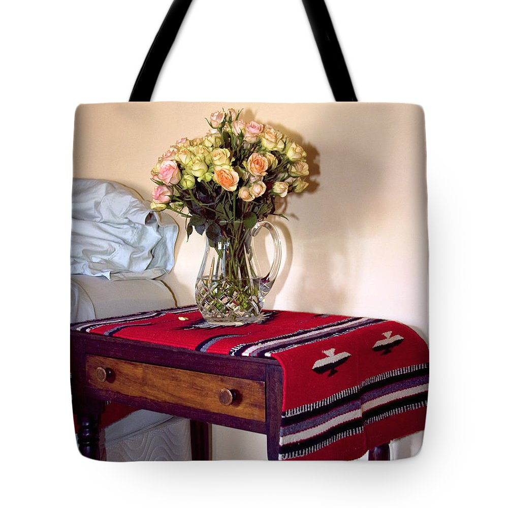 Still Life Tote Bag featuring the photograph Bedside Desert Roses Palm Springs by William Dey