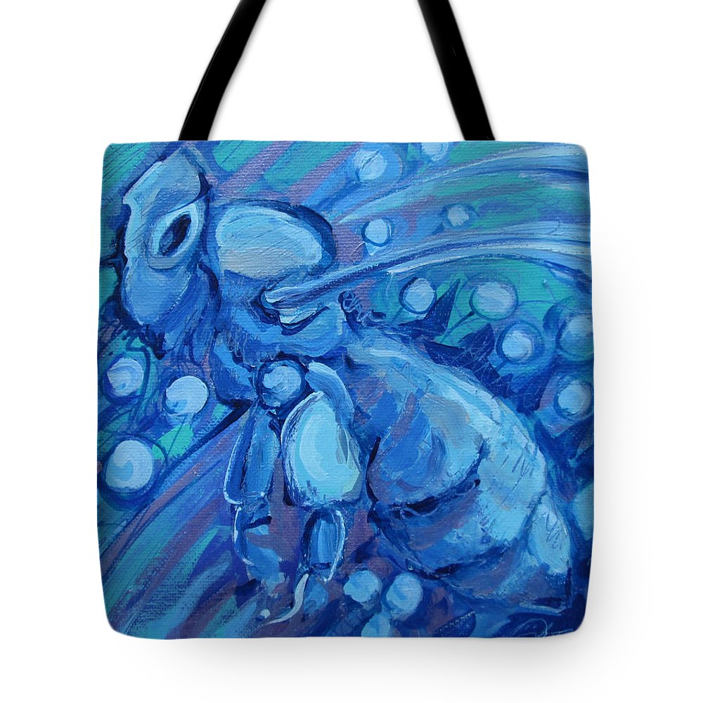 Bee Tote Bag featuring the painting Bee Blue by Jeff Seaberg