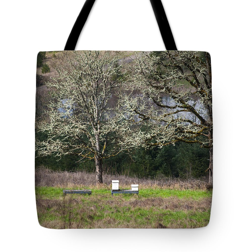 Farm Tote Bag featuring the photograph Bee Hive by Mandy Judson