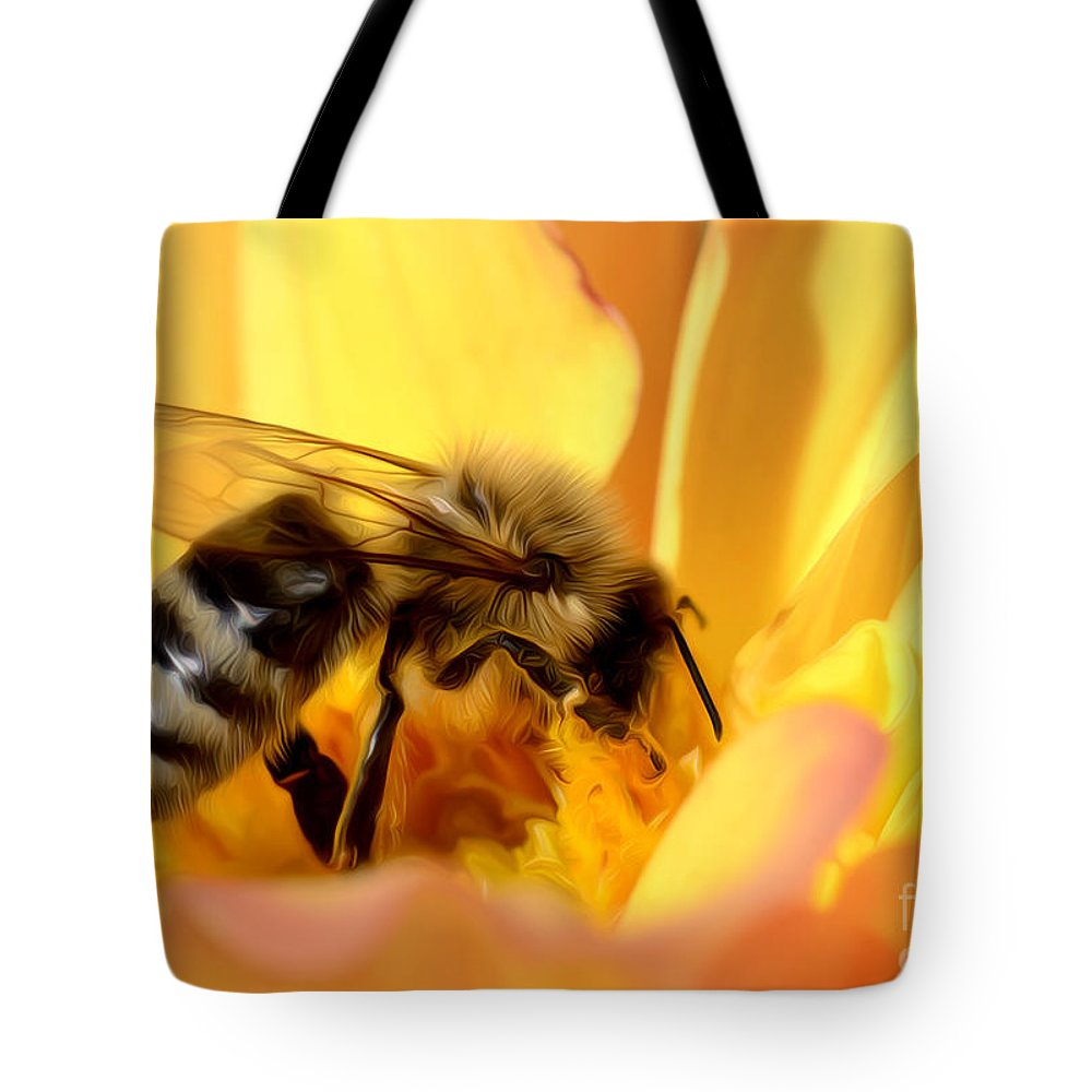 Bee Tote Bag featuring the photograph Bee In Flower by Dianne Phelps