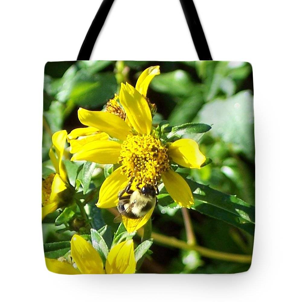 Bee Tote Bag featuring the photograph Bee On Flower by Michelle Miron-Rebbe