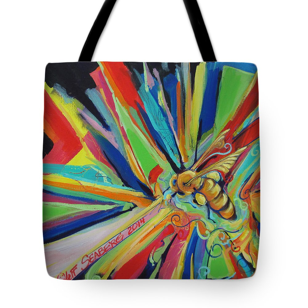 Bee Tote Bag featuring the painting Bee Sting by Jeff Seaberg