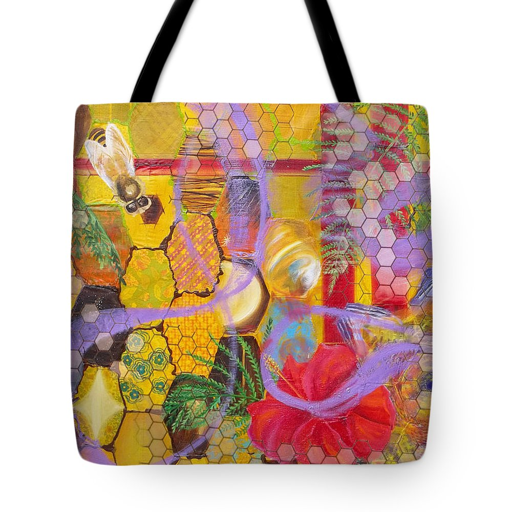 Bee Tote Bag featuring the painting Beehive by Anne Cameron Cutri