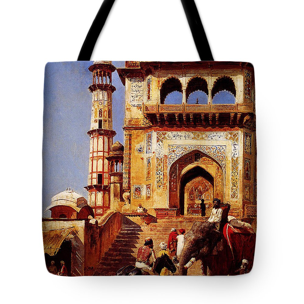 Before A Mosque 1883 Tote Bag featuring the painting Before A Mosque 1883 by MotionAge Designs