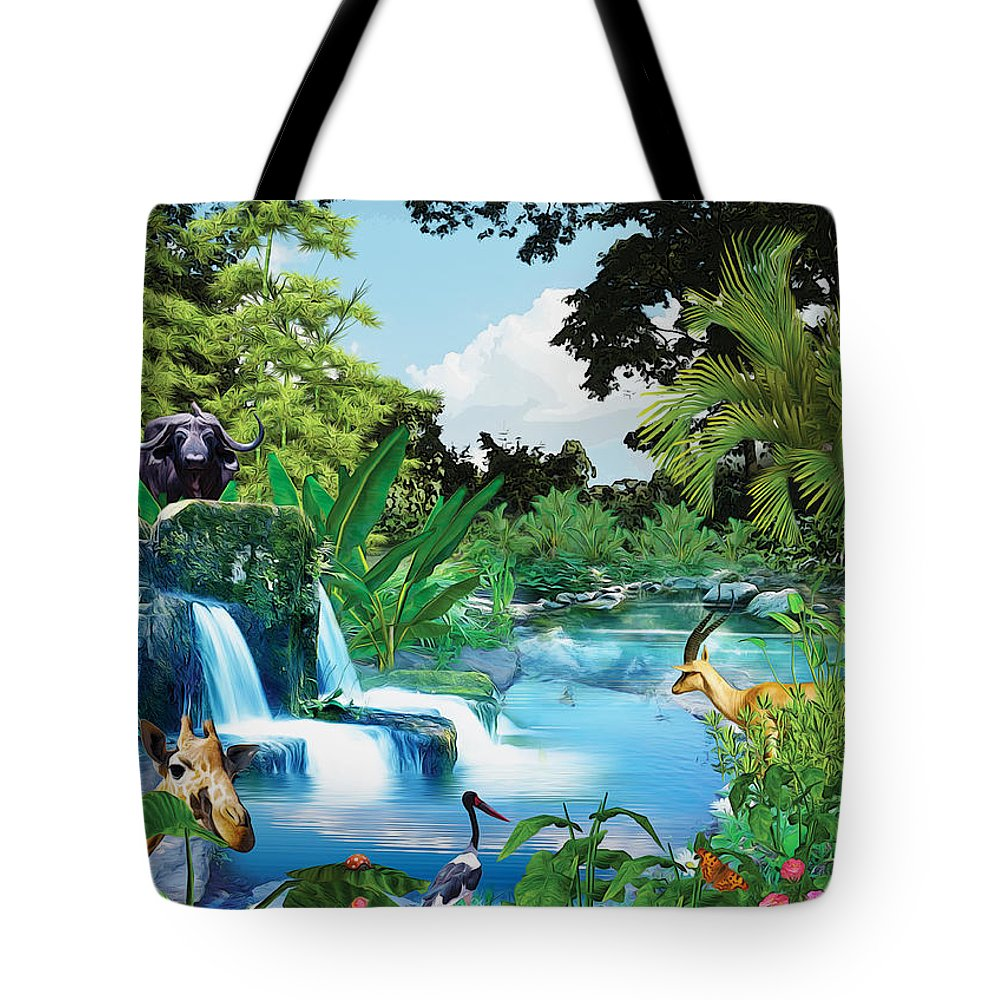 Eden Tote Bag featuring the digital art Before Adam by Anthony Mwangi