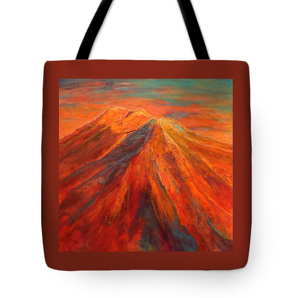 Mountain Tote Bag featuring the painting Before The Storm by Nancy Jolley