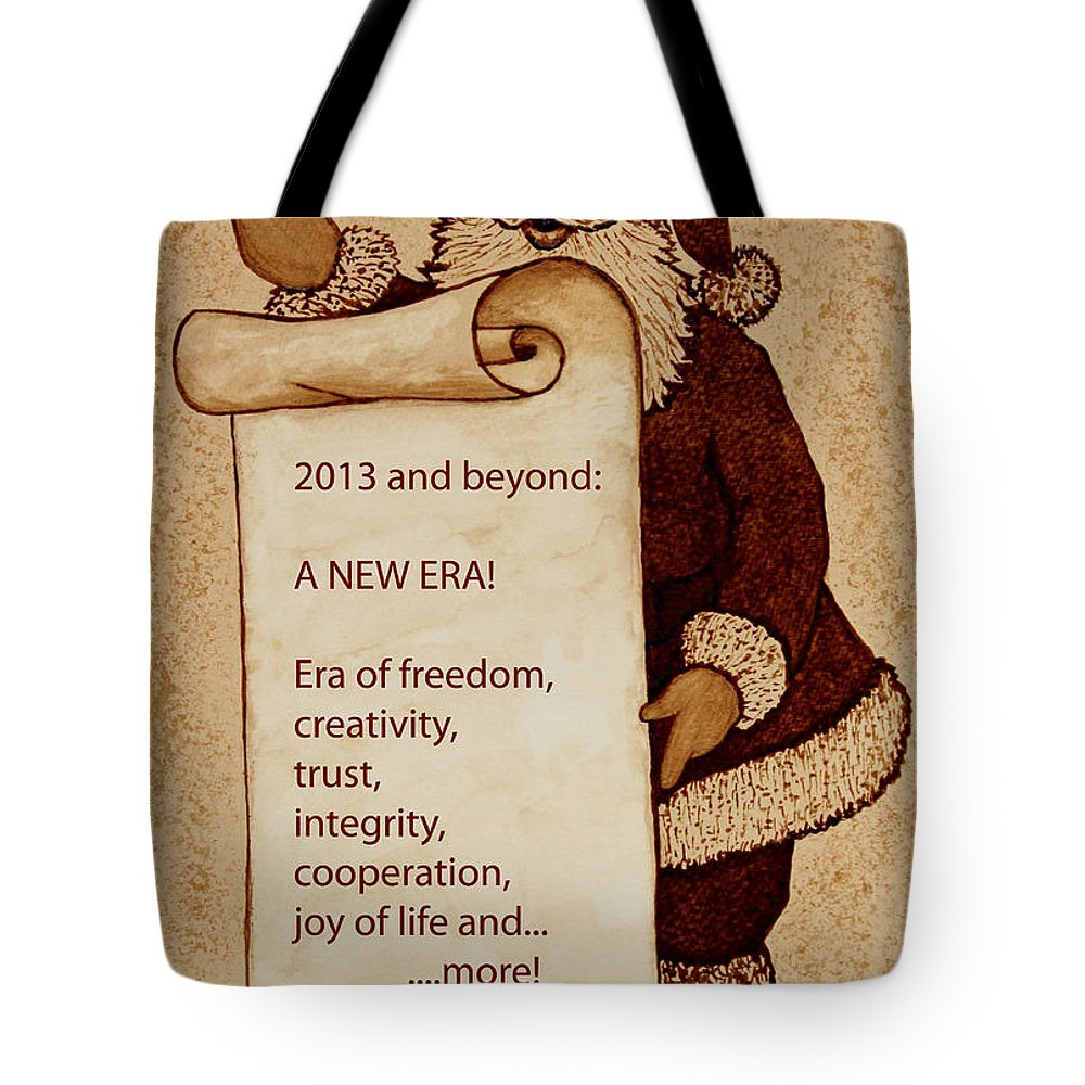 Santa Claus Tote Bag featuring the painting Begining Of A New Era by Georgeta Blanaru