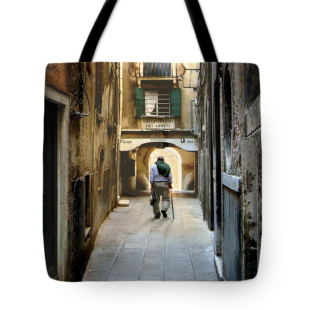 Sotoportego Tote Bag featuring the photograph Beginning Of An End by Jennie Breeze