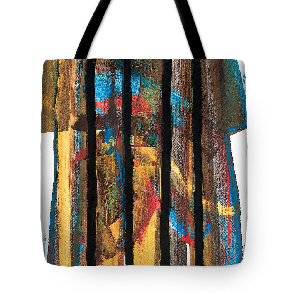 Contemporary Tote Bag featuring the painting Behind Bars by Bjorn Sjogren