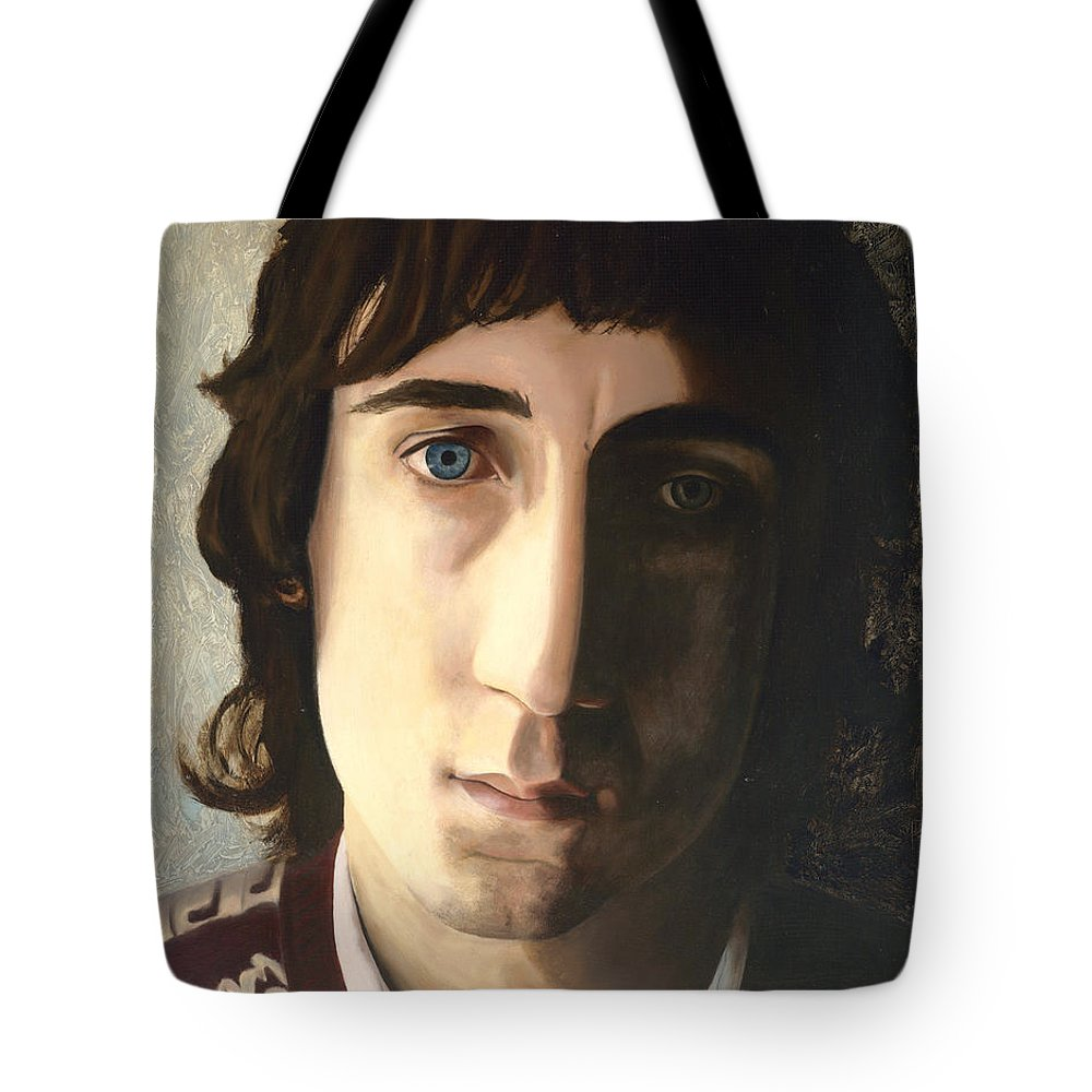 The Who Tote Bag featuring the painting Behind Blue Eyes by Jena Rockwood