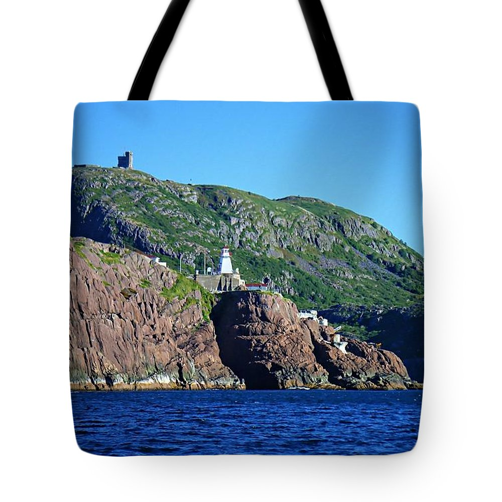 Behind Fort Amherst Rock Tote Bag featuring the photograph Behind Fort Amherst Rock By Barbara Griffin by Barbara Griffin