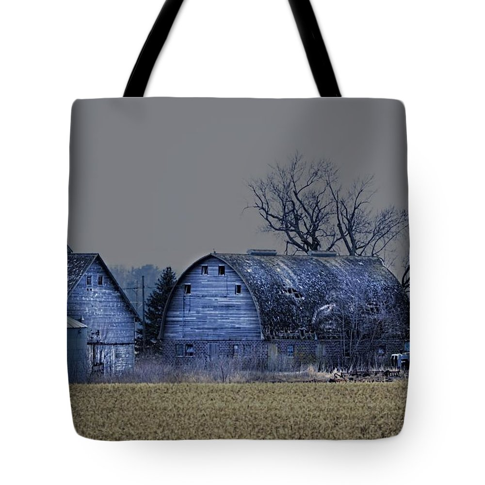 Rustic Tote Bag featuring the photograph Behind The Barn by Bonfire Photography
