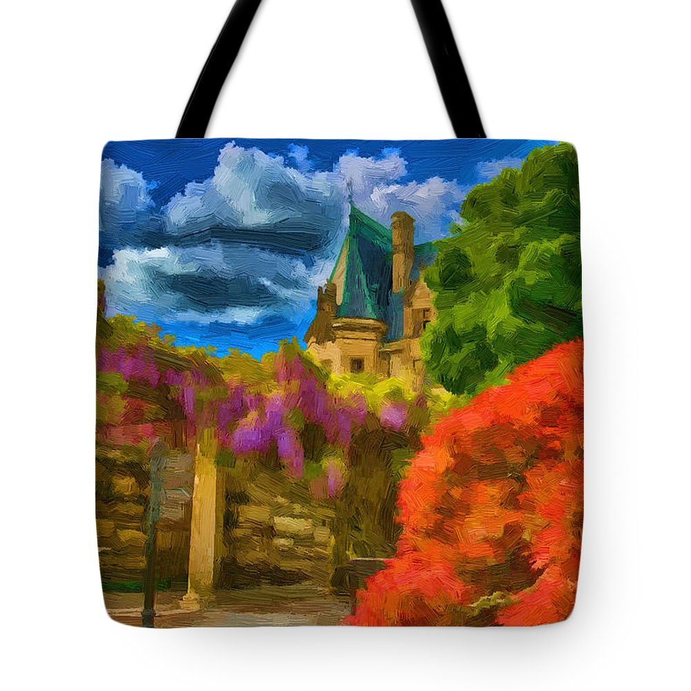 Biltmore House Tote Bag featuring the painting Behind The Biltmore by John Haldane