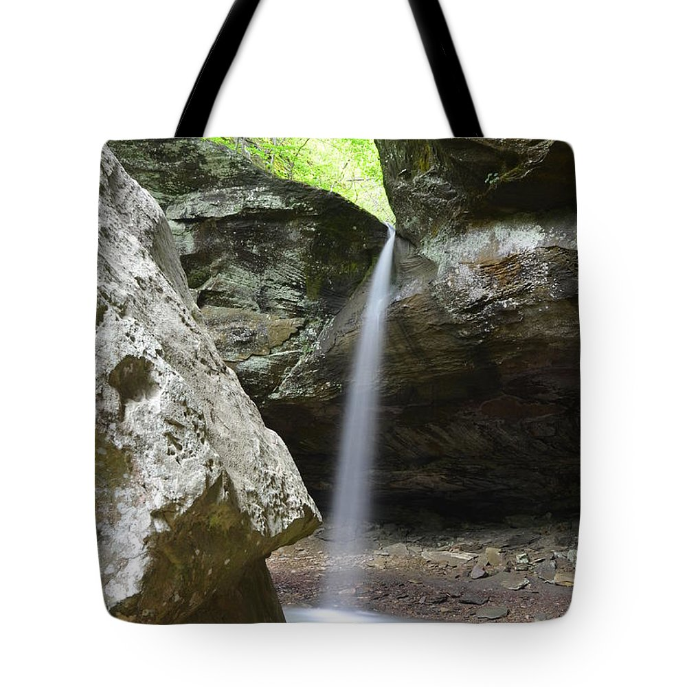 Waterfalls Tote Bag featuring the photograph Behind The Boulders by Deanna Cagle
