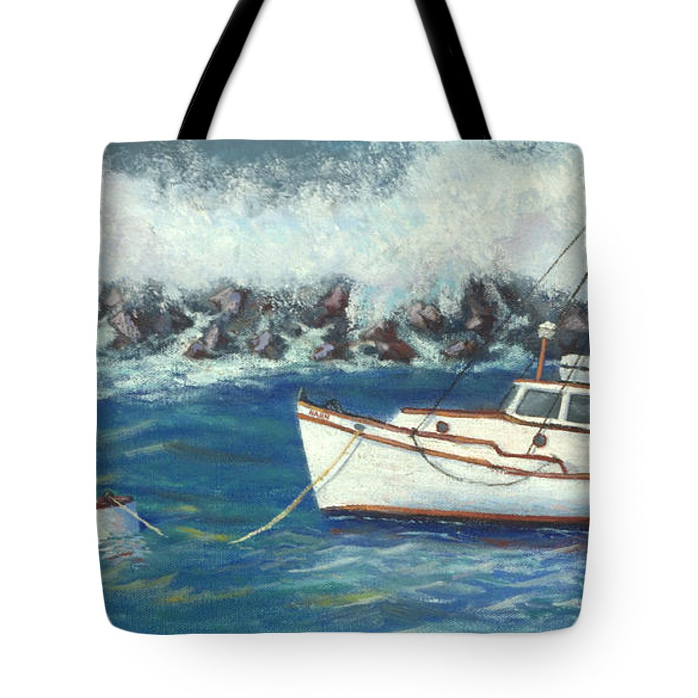 Ocean Tote Bag featuring the painting Behind The Breakwall by Jerry McElroy