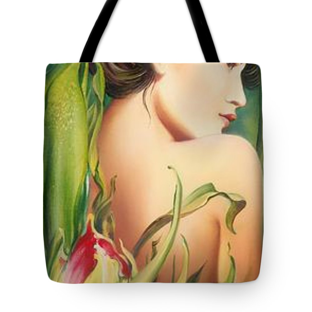 Tulip Tote Bag featuring the painting Behind The Curtain Of Colours -the Tulip by Anna Ewa Miarczynska
