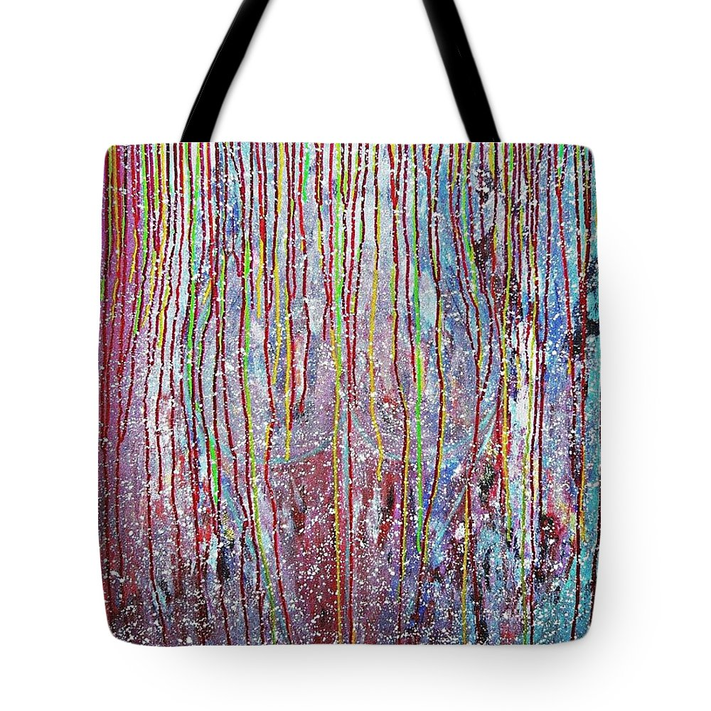 Contemporary Tote Bag featuring the painting Behind The Curtains by Piety Dsilva