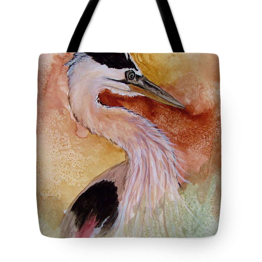 Heron Tote Bag featuring the painting Behind The Grasses by Lil Taylor