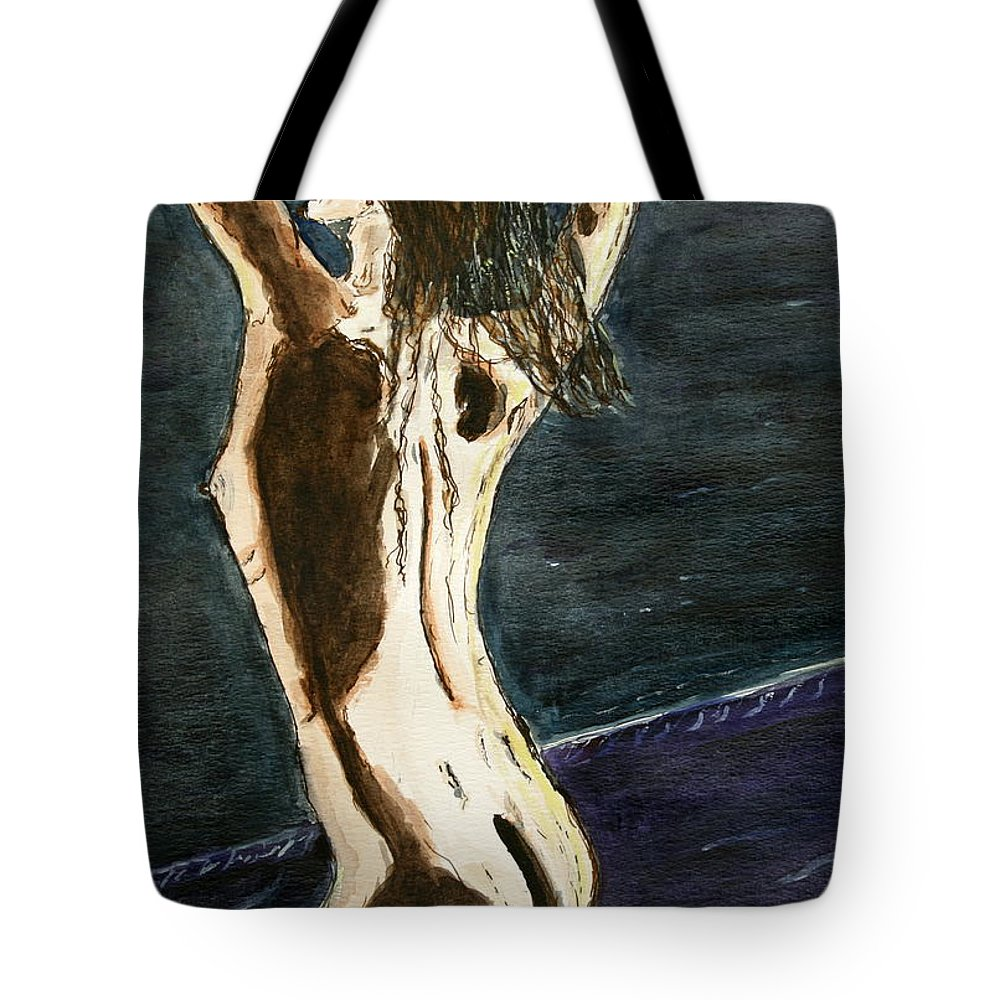 Nude Framed Prints Tote Bag featuring the painting Behind The Scene . by Shlomo Zangilevitch