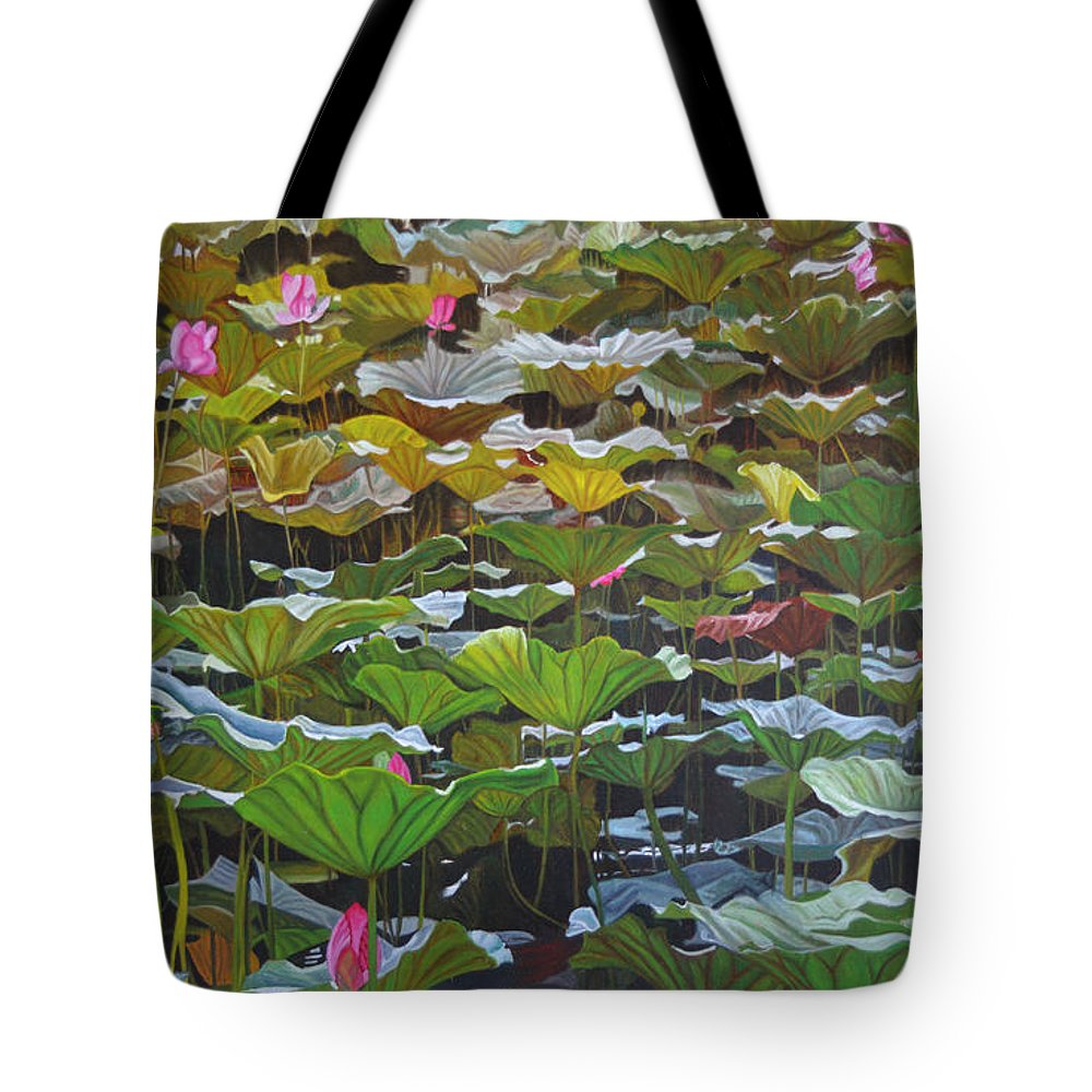 Waterlily Tote Bag featuring the painting Beijing In August by Thu Nguyen
