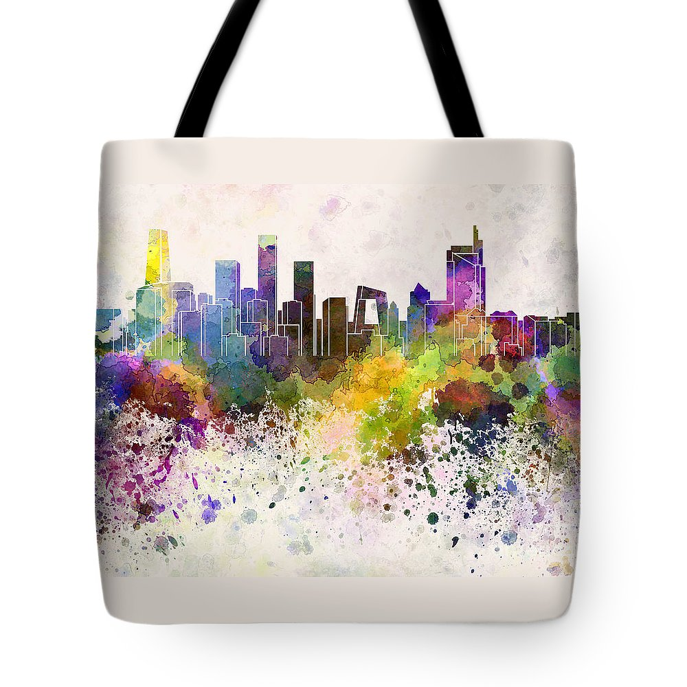 Beijing Skyline Tote Bag featuring the painting Beijing Skyline In Watercolor Background by Pablo Romero