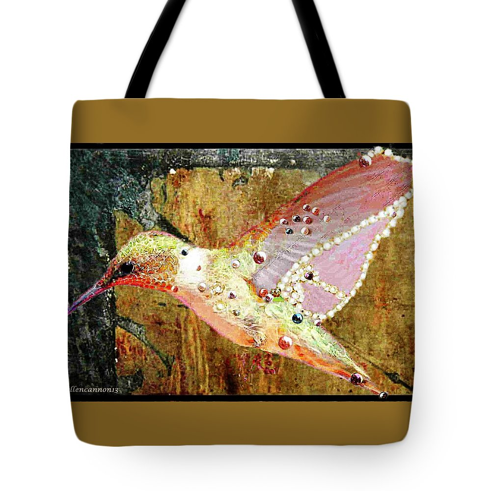 Bird Tote Bag featuring the photograph Bejeweled Hummingbird by Ellen Cannon