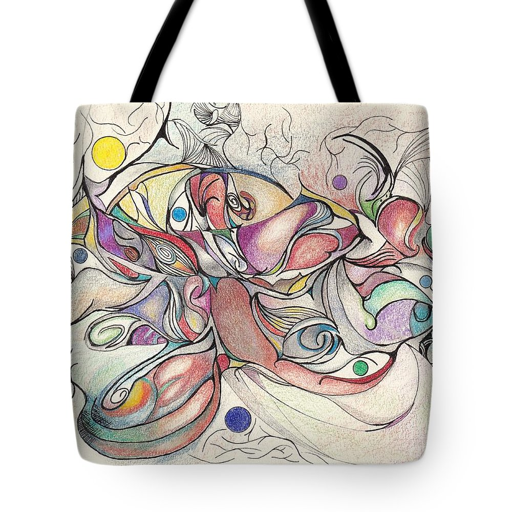 Pink Tote Bag featuring the drawing Bejeweled by Ronda Breen