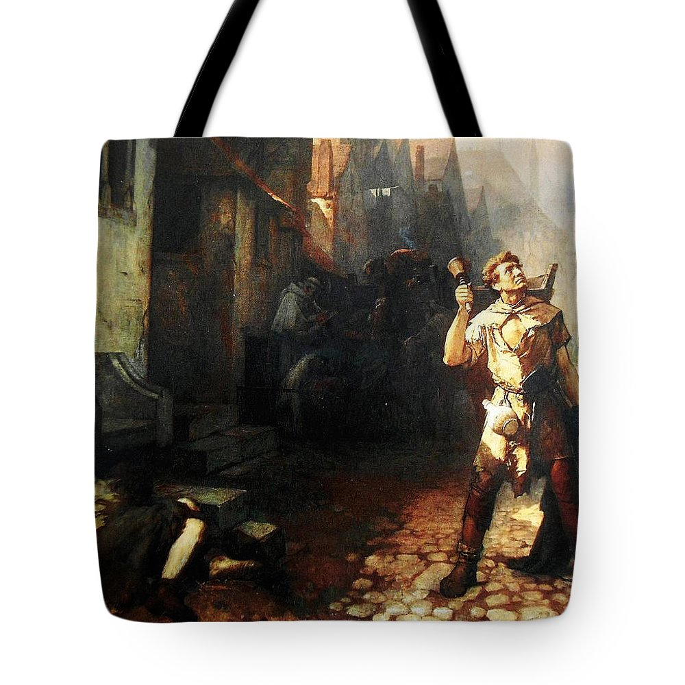 Belgian Ferdinand Pauwels The Plague In Ypres Tote Bag featuring the painting Belgian Ferdinand Pauwels The Plague In Ypres by MotionAge Designs