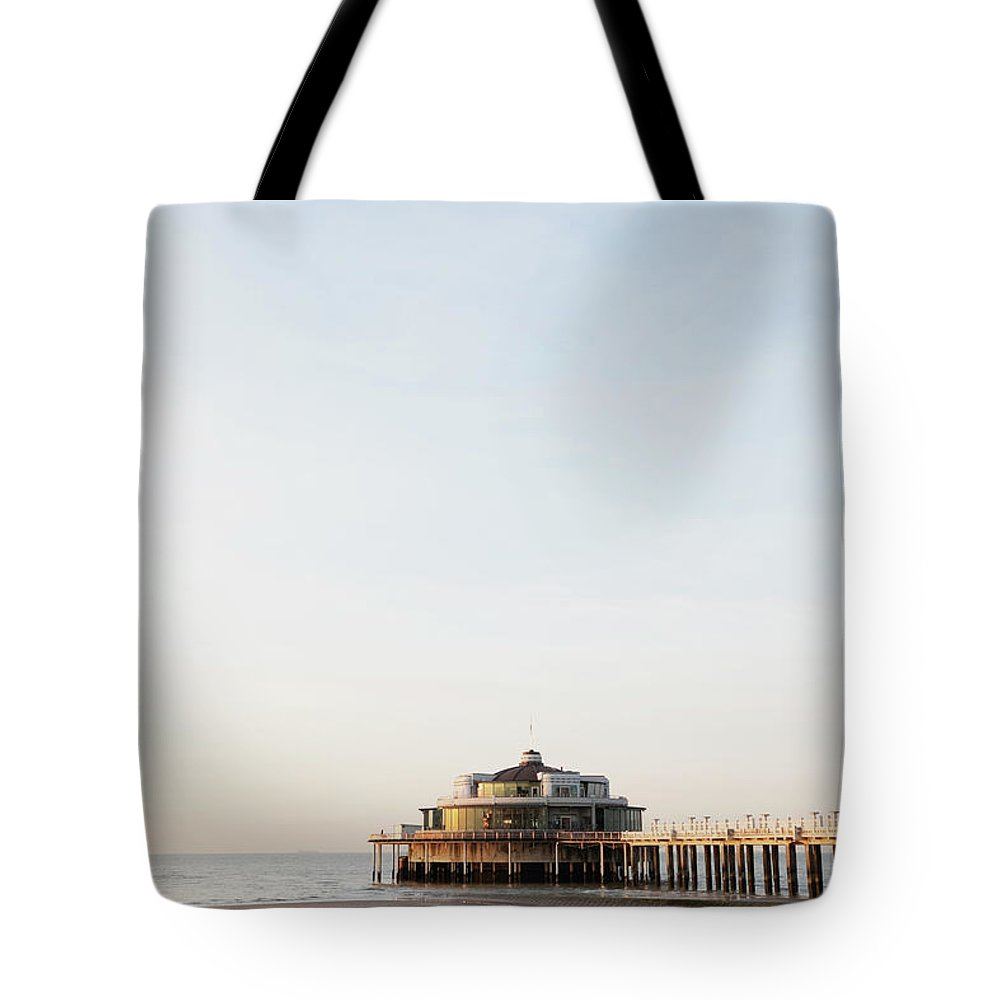 Tranquility Tote Bag featuring the photograph Belgium, Blankenberge, View Of Pier At by Westend61