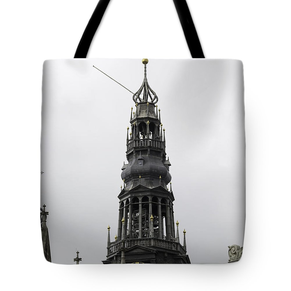 2014 Tote Bag featuring the photograph Bell Tower At Oude Kerk Amsterdam by Teresa Mucha