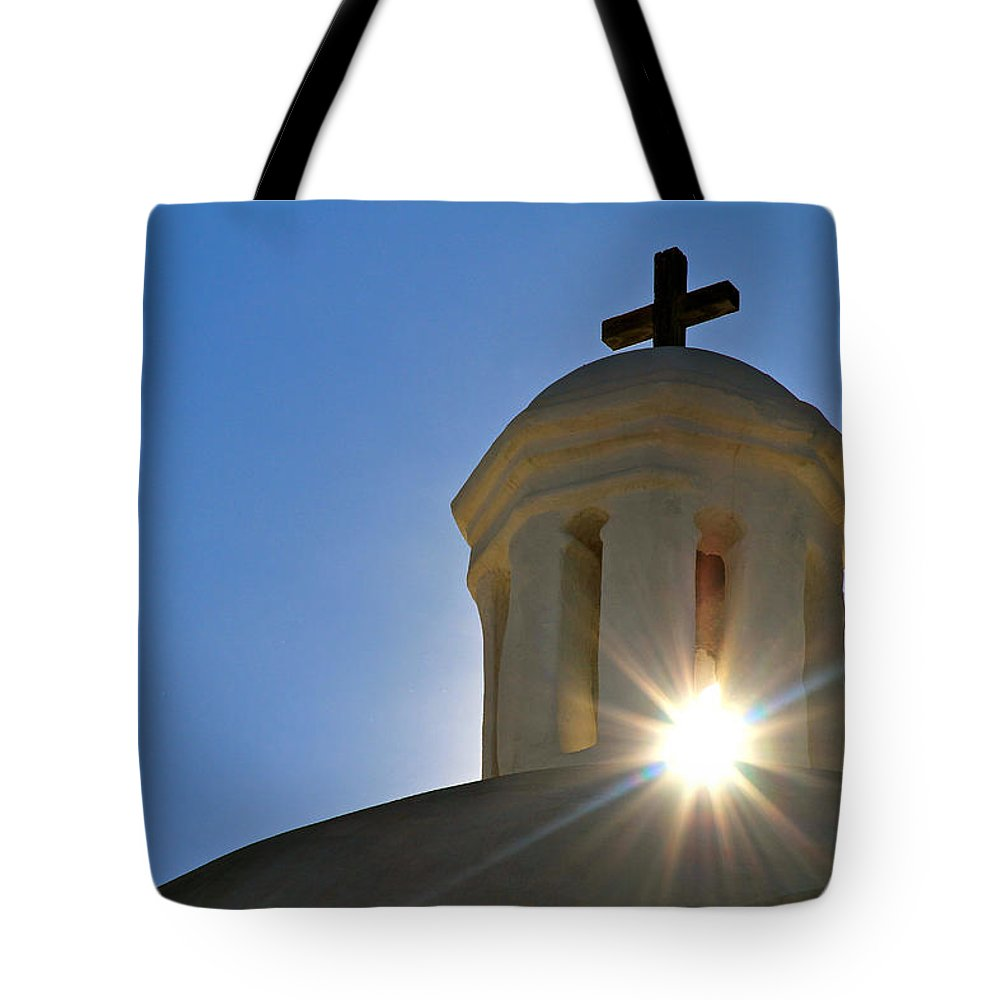 Tumacacori Mission Tote Bag featuring the photograph Bell Tower Sun Burst Tumacacori Mission by Ed Riche