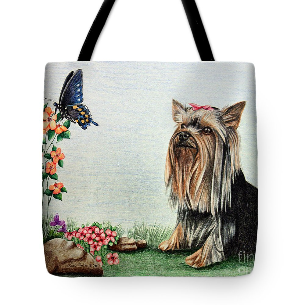 Paper Tote Bag featuring the drawing Bella by Lena Auxier