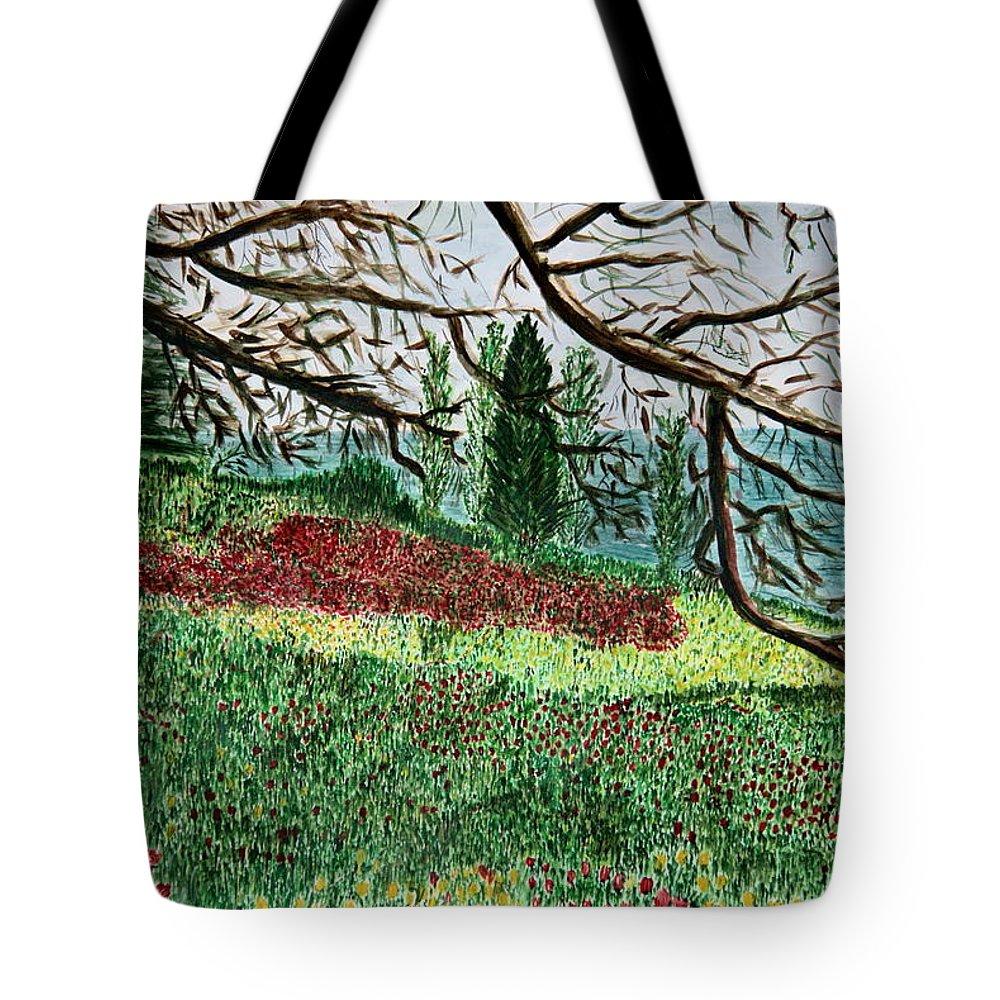 Shore; Exotic; Palm Tree; Coconut; Sand; Beach; Sailing Paintings Tote Bag featuring the painting Bella Vista. by Shlomo Zangilevitch
