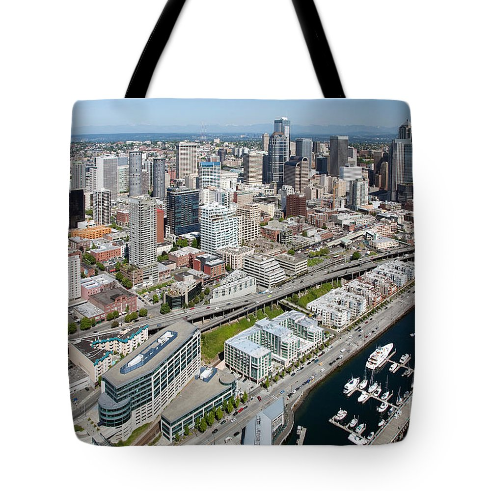 Aerial Tote Bag featuring the photograph Belltown In Downtown Seattle by Bill Cobb