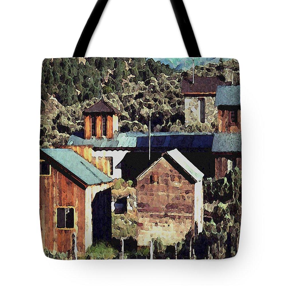 Digital Tote Bag featuring the digital art Belmont Town by David Hansen